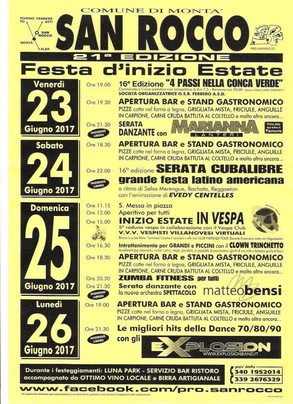 FESTA DI INIZIO ESTATE - SAN ROCCO DI MONTA  (CN)