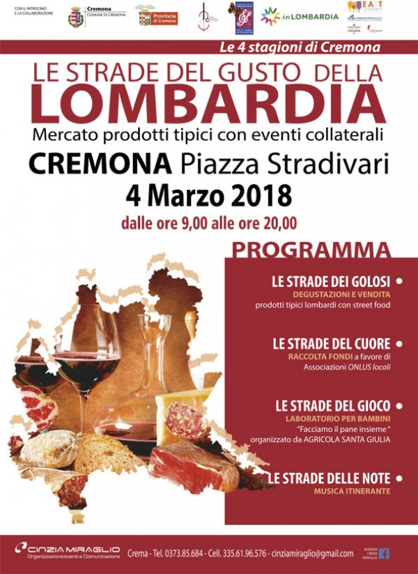 LE STRADE DEL GUSTO DELLA LOMBARDIA - PIAZZA STRADIVARI CREMONA - 4a TAPPA 4 MARZO 2018