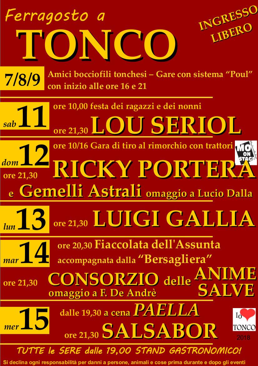 Ferragosto Tonchese 2018 - RICKY PORTERA e non solo!