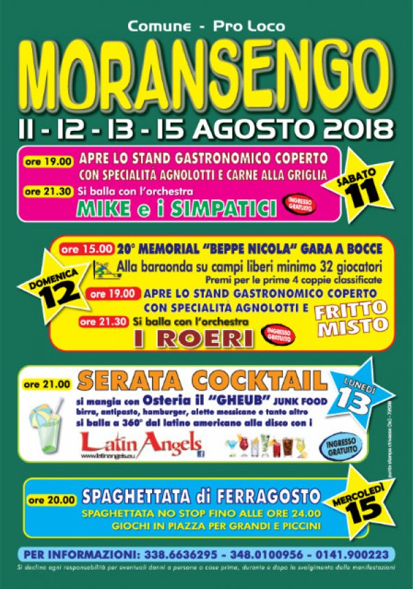 FESTA D ESTATE MORANSENGO 2018